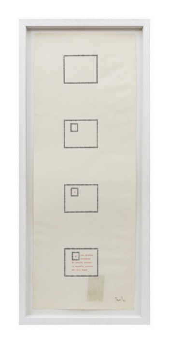 È una vecchia incisione, 1982, poetic typecode, typewriting, 56 x 21 cm, photo: Danilo Donzelli