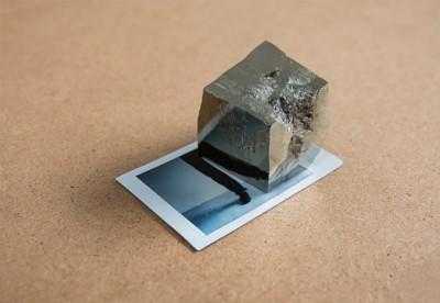Permanent illusion, 2017, polaroid and pyrite, cm 9 x 6 x 5