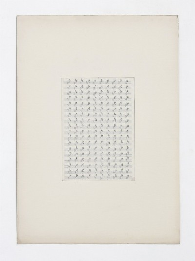 Partitura astratta, 1975, indian ink on tracing paper, indian ink on staff paper, cm 73 x 53 (framed) cm 70 x 50 (unframed), photo- Danilo Donzelli