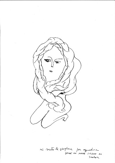 Sissi, Esisti-istinti, 2016, ink on paper, 42 x 29 cm (unframed) 52 x 39,5 cm (framed)