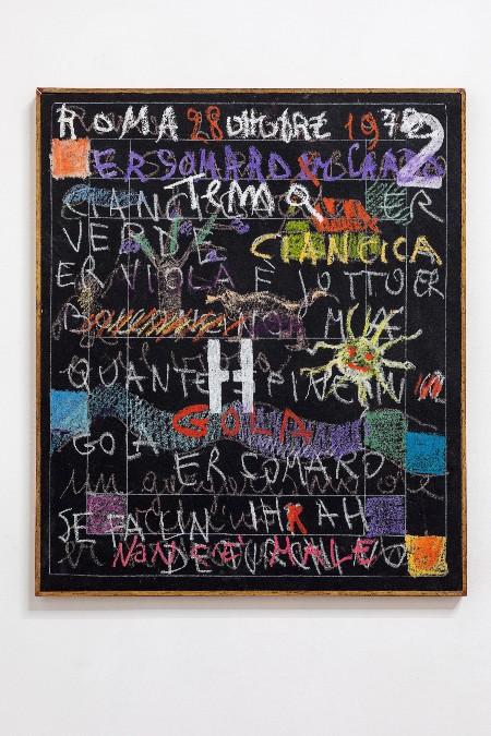 Simona Weller, Gola e H, 1972, pastelli su tela / pastels on canvas, cm 65,5 x 55,5 (con cornice / framed)