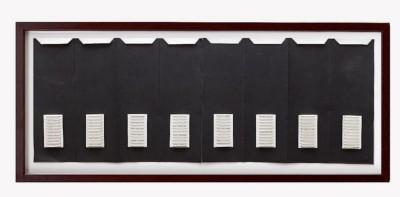 Tomaso Binga, Parole in dissolvenza, 1973, collage, ink on paper, 50x138 cm (unframed) 56,5x146,5 cm (framed)