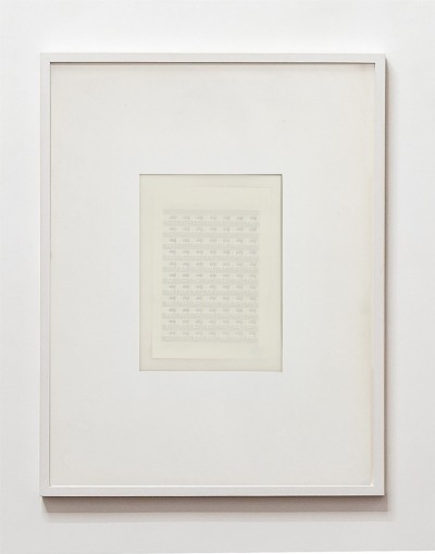 Partitura astratta, 1975, white ink on tracing paper, indian ink on staff paper, cm 72,5 x 53 (framed), cm 69,5 X 50 (unframed), photo: Danilo Donzelli