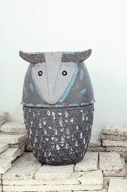 Pineapple Aries, 2013, glazed ceramic on mushroom tiles, cm 58 (h)x 35 ø in collaboration with Pierfrancesco Solimene