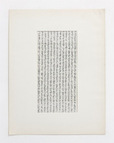 Partitura asemantica, 1974, indian ink on tracing paper, ink on staff paper, cm 63 x 53 (framed), cm 65 X 50 (unframed), photo- Danilo Donzelli