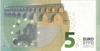 5 euro, 2014, print on original banknote, cm 6,2 x 12, ed. 3
