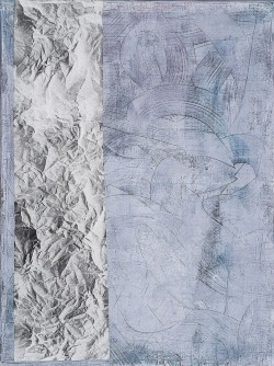 To be titled # 2, 2014, mixed media on paper on burlap, cm 120 x 90