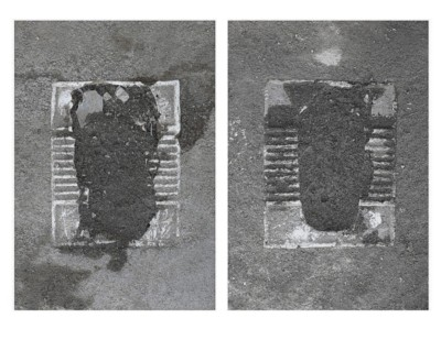 Erasure Phase I: Paved Over (Toilets in Abdol Abaad), 2014-2018, c-print, dyptich, cm 84 x 69 x 4 cm (framed), each ed. 3 + 2 A.P.