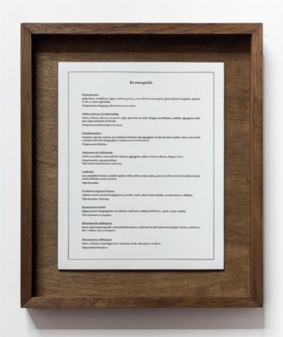 Kit managieriale, 2018, print on cotton paper, cm 30 x 24 (sheet); cm 40 x 34,5 (framed) ed. 3, photo: Danilo Donzelli