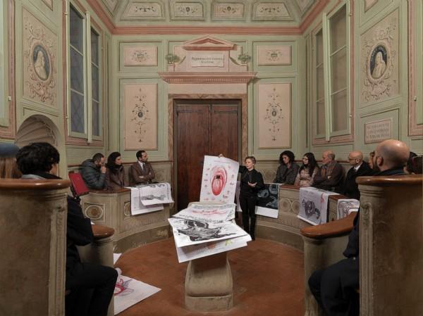 Anatomia Parallela in tour, 2014, photograph, cm 140 x 118, ed. 3+1 A.P., performance at the Ospedale del Ceppo, Pistoia, photo: Dario Lasagni