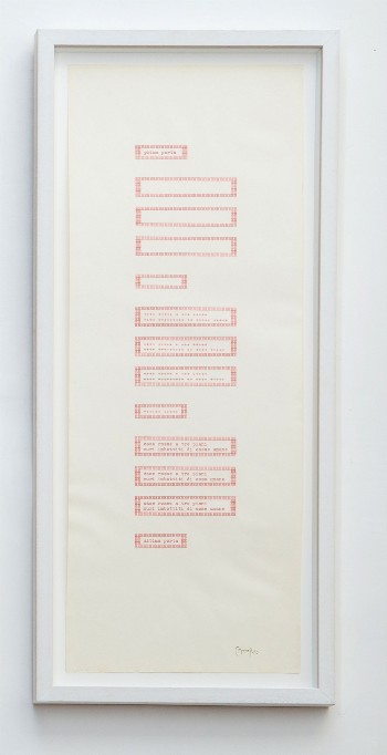 Prima porta, 1980, poetic typecode, typewriting, 56 x 21 cm, photo: Danilo Donzelli