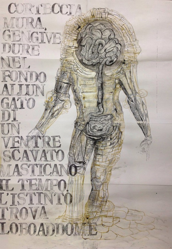 Diario di un ventre scavato, 2016, mixed media on paper, cm 84 x 58