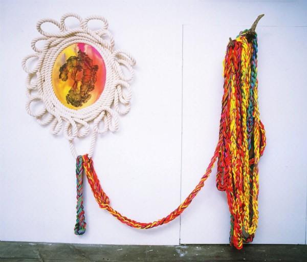 Al di la della corda lo sguardo lega, 2008, acrylic ink and acrylic colour on canvas and rope