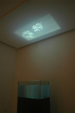 Wachet Auf, ruft uns die Stimme (Wake up, the voice calls), 2007, video, glass, wood, water, cm 145 x 77 x 44, ed. 2