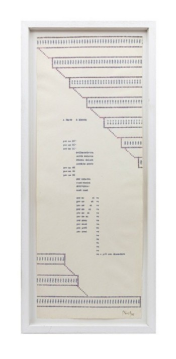 A Dante A DDenta, 1982, poetic typecode, typewriting, cm 56 x 21, photo: Danilo Donzelli