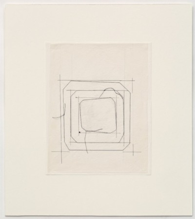Untitled, 1977, pencil and thread on paper, cm 25 x 20 (sheet); cm 42 x 37 (framed), photo: Danilo Donzelli