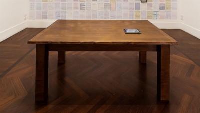 Esercizi di scrittura per un prossimo reale, 2018, video installation IPAD and table; video: 4'44''; table cm 80 x 188,5 x 109, unique piece, photo: Danilo Donzelli