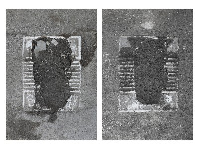 Shadi Harouni, Erasure Phase I: Paved Over (Toilets in Abdol Abaad), 2014-2018, Photography, c-print on aluminium, dyptich: cm 81 x 66 (sheet) 84 x 69 x 4 cm (framed), each, ed 1/3 + 2 AP