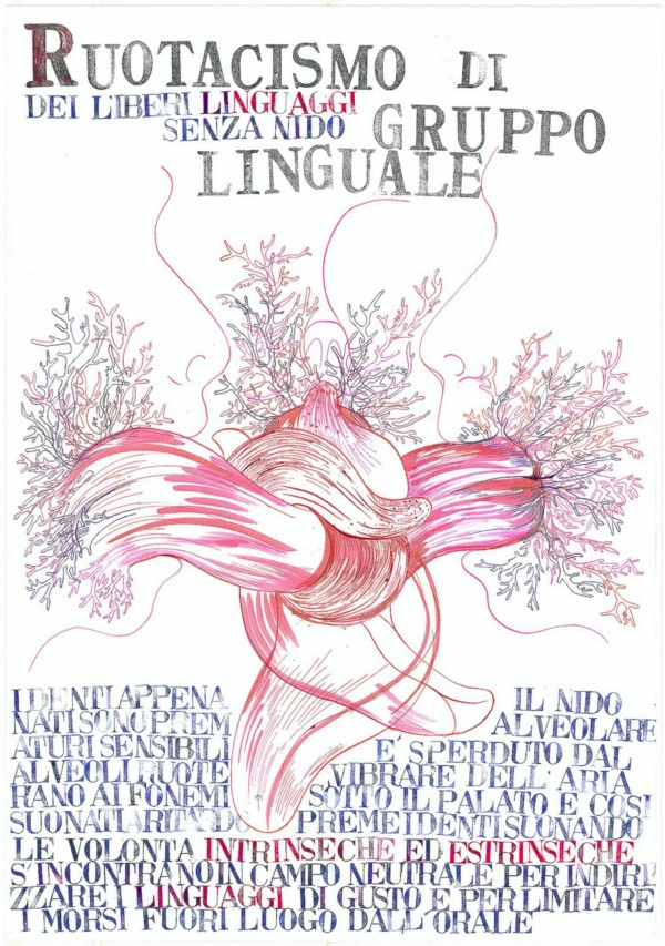 Anatomia Parallela II: Poetica linguale, 2012, N. 7 plates, indian ink, acrylic, stamps, watercolor, mixed media, cm 100 x 70