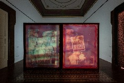 Real Estate Astrology, 2015, installation composed by: film (3D anaglyph), 3D projector, 2 silkscreen pannels (cm 200 x 163 x 4 cm each)