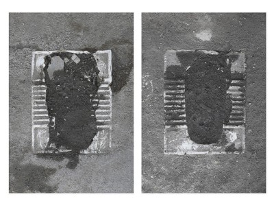 Erasure Phase I: Paved Over, Toilets in Abdol Abaad (documents of eastern toilets in a shanty town outside of Tehran paved over by the municipality as a first attempt to erase the settlement), 2014, digital C-prints, cm 71 x 41 (each)
