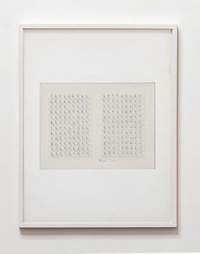 Partitura astratta, Variazioni sul tema B, 1975, white ink and indian ink on tracing paper, indian ink on staff paper, cm 72,5 x 53 (framed), m 69,5 X 50 (unframed), photo: Danilo Donzelli