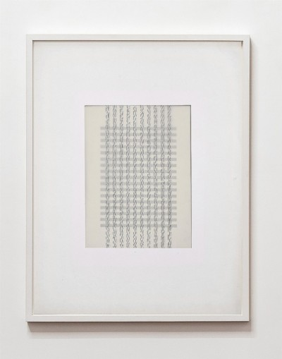Partitura asemantica Partitura astratta, 1974, white ink on tracing paper, indian ink on paper, cm 68 x 53 (framed), cm 65 x 50 (unframed), photo: Danilo Donzelli