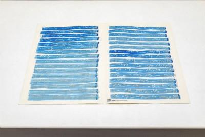 Betty Danon, Memoria del segno sonoro, 1978, ink on staff paper, 30x42 cm (unframed) 68,5x53x8 cm (framed)