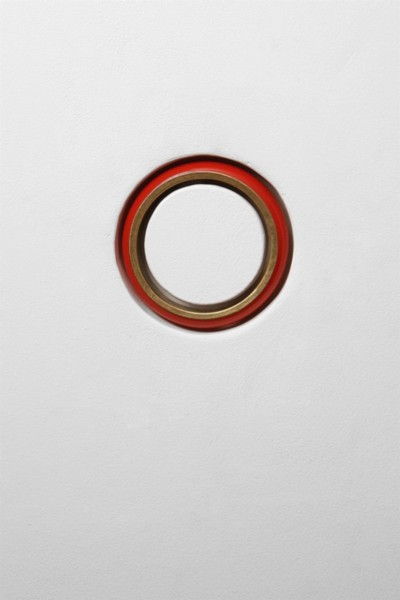 Things, 2011-14, brass bracelet, hydrocal, wood, joint compound, sheetrock, wall paint, walls, dimensions variable