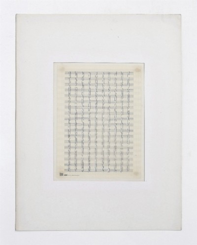 Partitura astratta, 1975, white ink on tracing paper, indian ink on staff paper, cm 68 x 53 (framed), cm 65 x 50 (unframed), photo: Danilo Donzelli