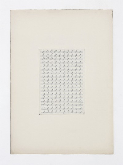 Partitura astratta, 1975, indian ink on tracing paper, indian ink on staff paper, cm 73 x 53 (framed) cm 70 x 50 (unframed), photo: Danilo Donzelli