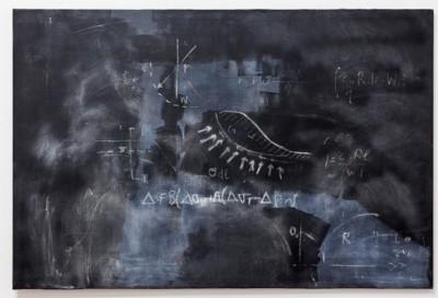 Marta Orlando, Andamento delle pressioni neutre nel tempo (grande), 2017, acrylic and plaster on canvas, cm 100 x 150