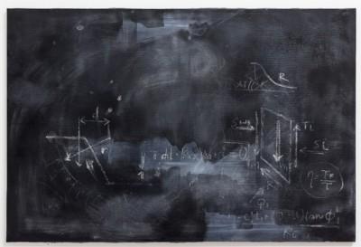 Marta Orlando, Equilibrio alla traslazione verticale, 2017, acrylic and plaster on canvas, cm 80 x 120