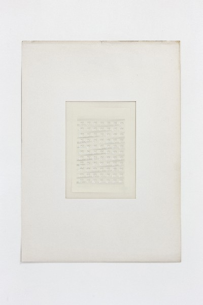 Partitura astratta, 1975, white ink on tracing paper, indian ink on staff paper, cm 72,5 x 53 (framed), cm 69,5 X 50 (unframed) photo: Danilo Donzelli