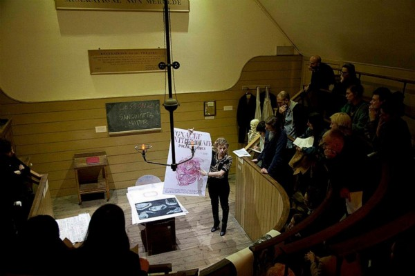 Anatomia Parallela in tour, 2014, photograph, cm 140 x 118, ed. 3 + 1 A.P., performance at The Old Operating Theatre, S.Thomas Hospital, London, photo credit: Dario Lasagni