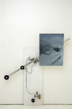 LandEscape, 2009, installation, acrylic on canvas, electric engine, steel, mixed media, cm 186 (mechanical arm), cm 80 x 60