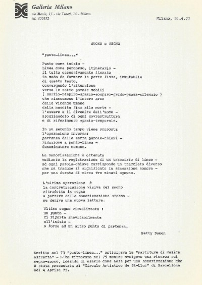 Punto linea, text written on the occasion of the exhibition at Galleria Milano,1977