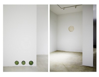 Things, 2011-14, fresh watermelons, drum, hydrocal, wood, joint compound, sheetrock, wall paint, walls, dimensions variable