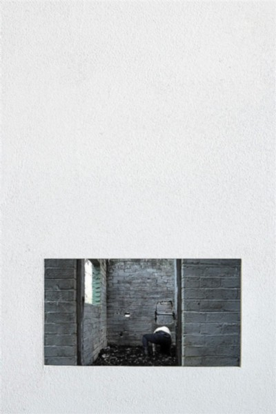 Video Series: Abandoned Toilet, 2012, single channel video, duration: 7, looped. Seven-inch LCD screen imbedded in wall, wood, museum board, joint tape, joint compound, cove adhesive, wall paint