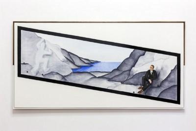 Thomas Jeppe, Grace Notes of the Last Castrato (Scugnizzo Critico), 2017, oil and enamel on canvas, artist's frame, cm 203 x 103, photo: Danilo Donzelli